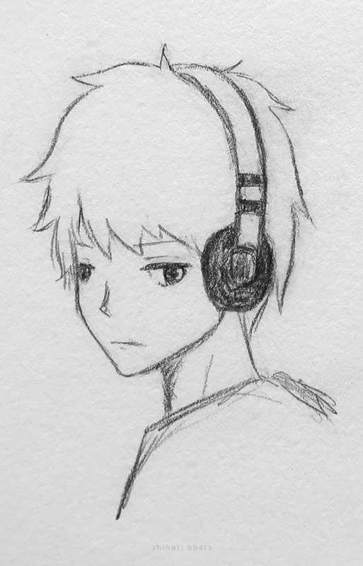 headphones anime boy drawing