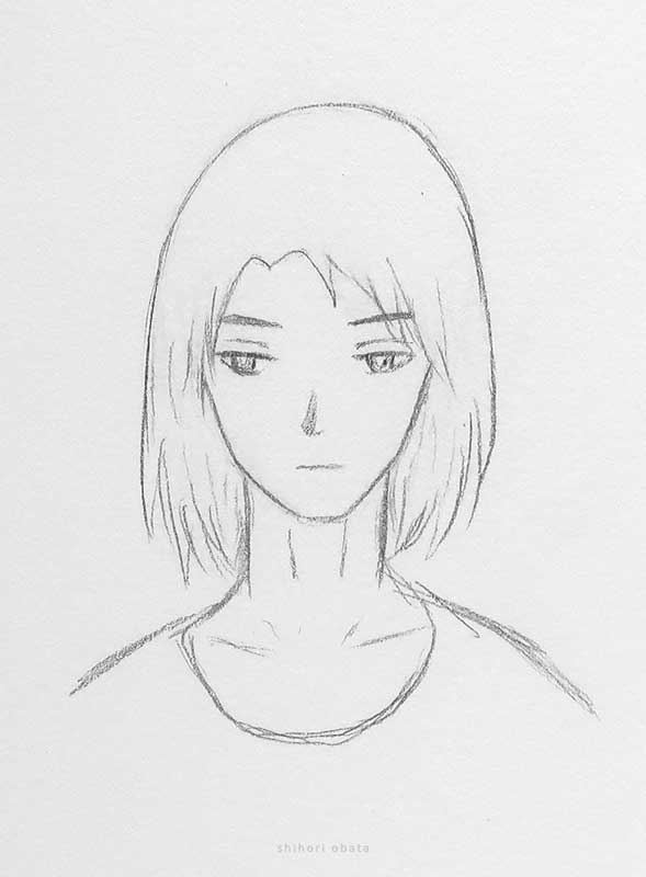 anime boy long hair drawing