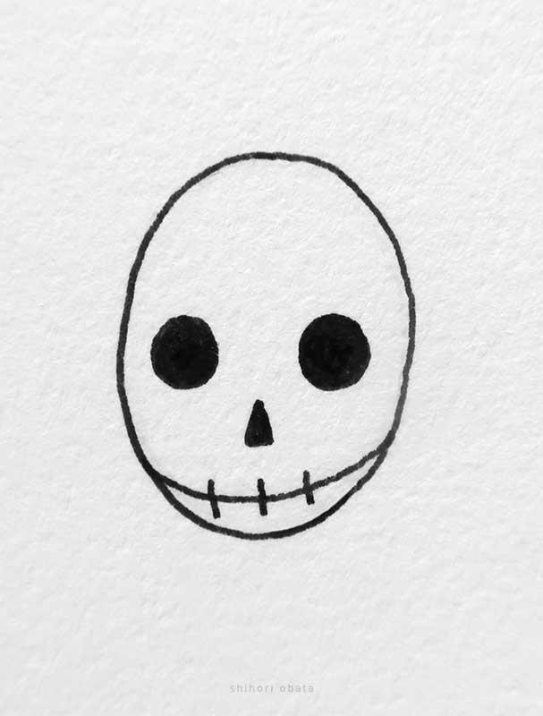 easy skull drawing idea
