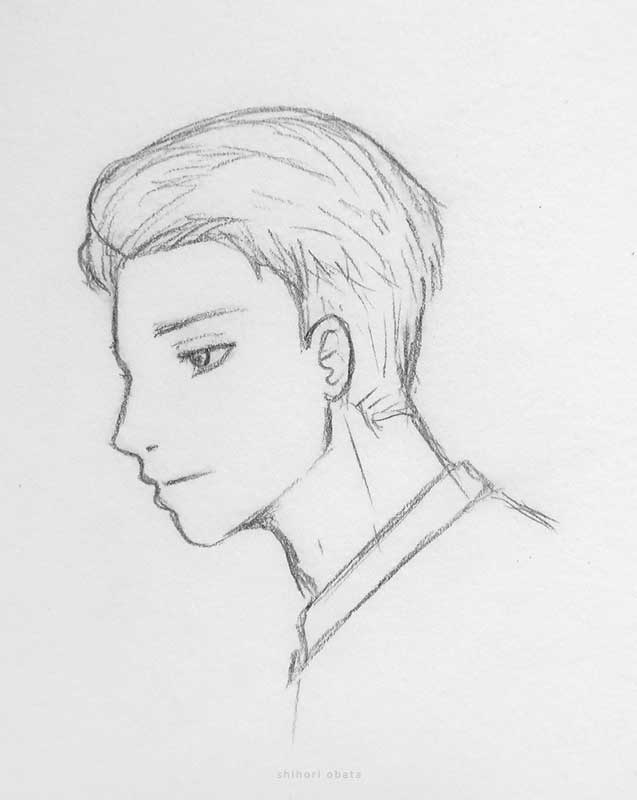 pencil drawing anime male