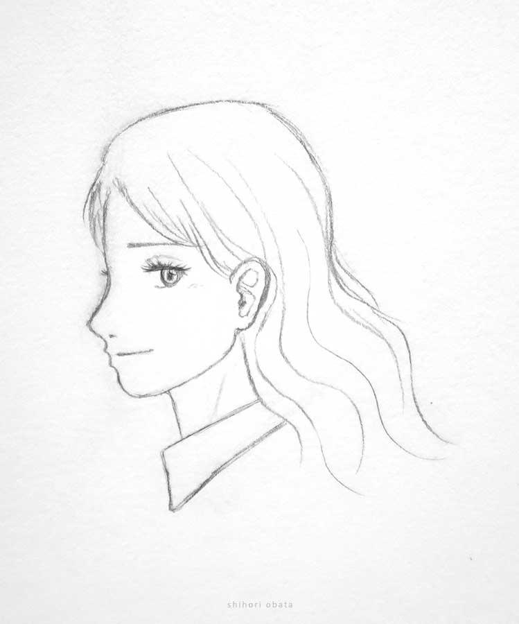anime girl drawing pencil