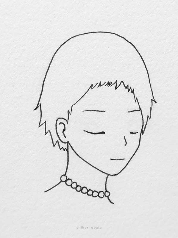 short hair anime girl drawing
