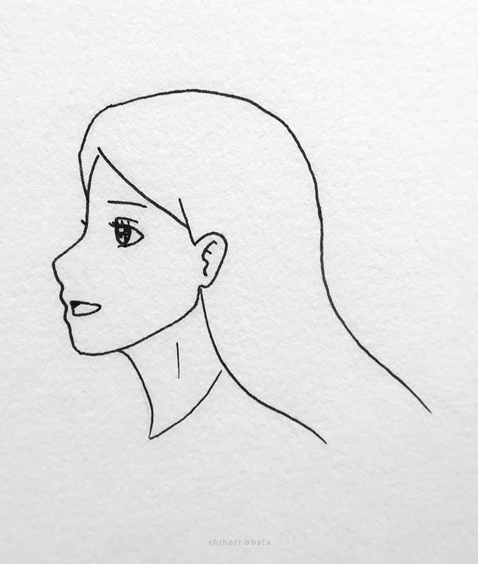 side profile anime girl drawing