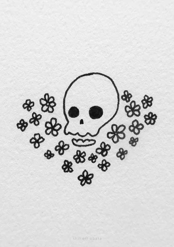 skull flowers drawing
