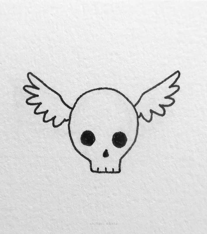 skull wings drawing