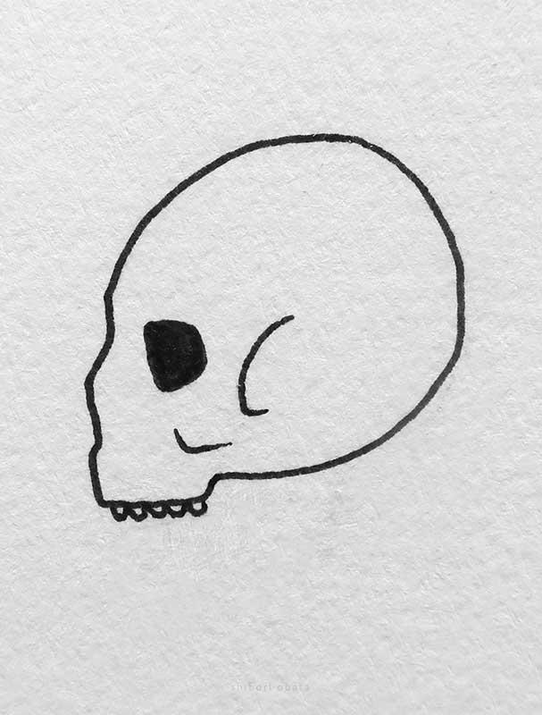 skull side profile drawing