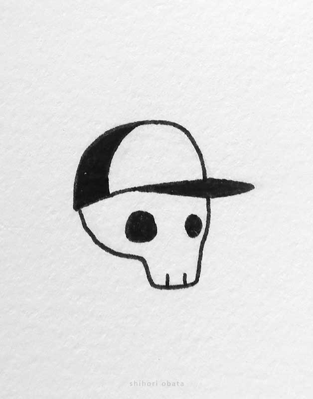 easy skull drawing with cap