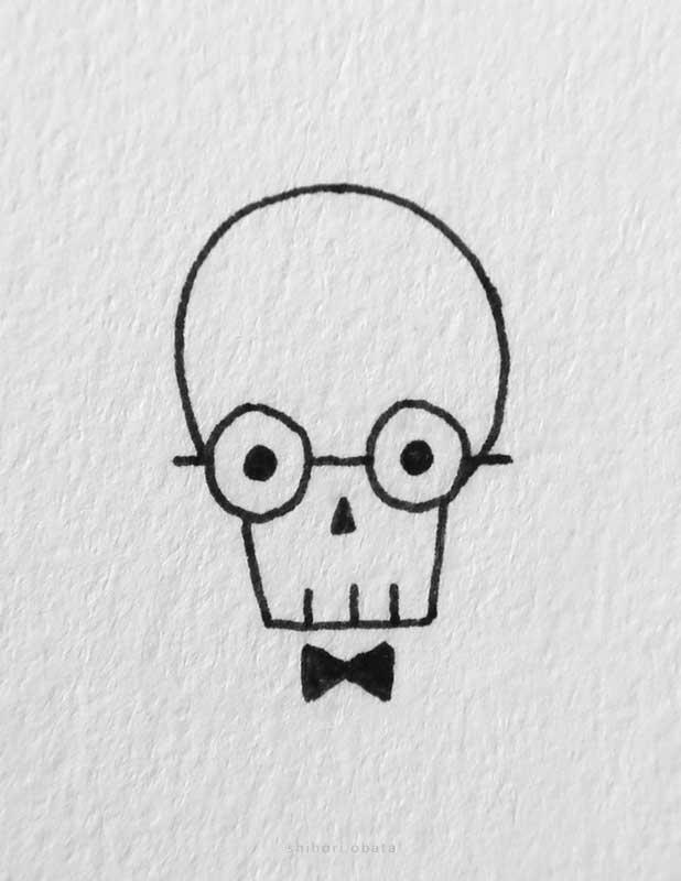 easy skull drawing glasses