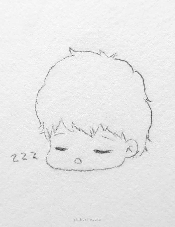 sleeping anime boy drawing