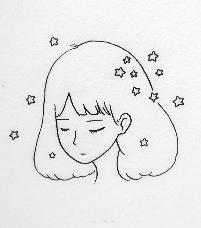 sleeping anime girl drawing