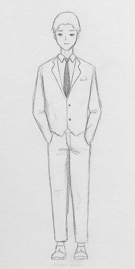 suit drawing anime male