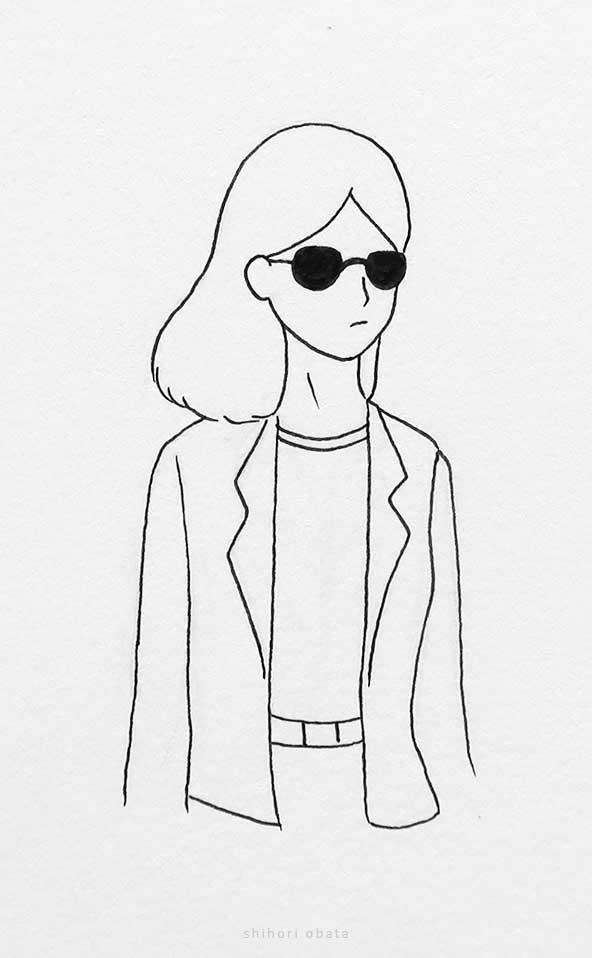 sunglasses anime girl drawing
