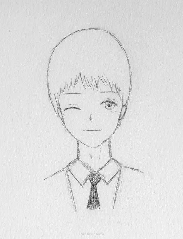 winking anime boy drawing