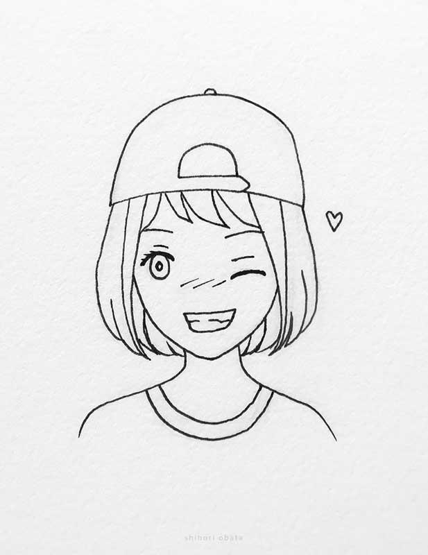 winking girl drawing