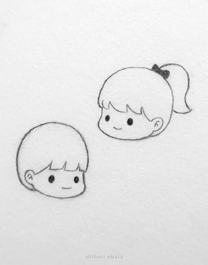 cartoon chibi boy girl faces