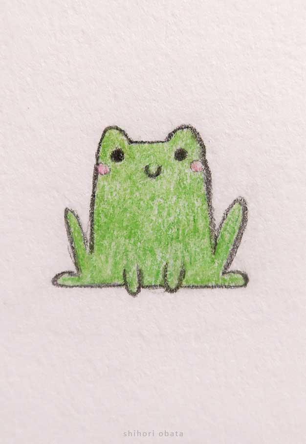 cute easy frog drawing