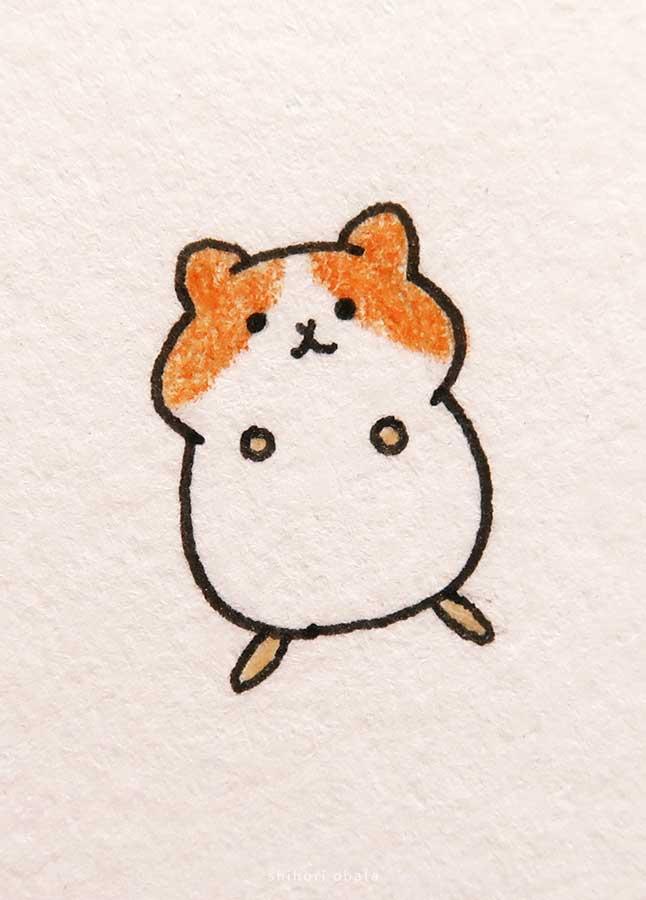 cute easy hamster drawing