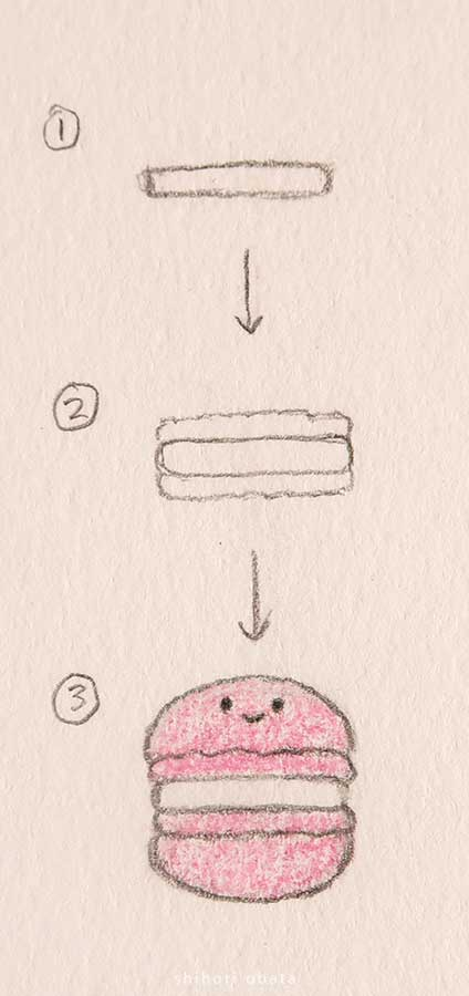 easy macaroon drawing