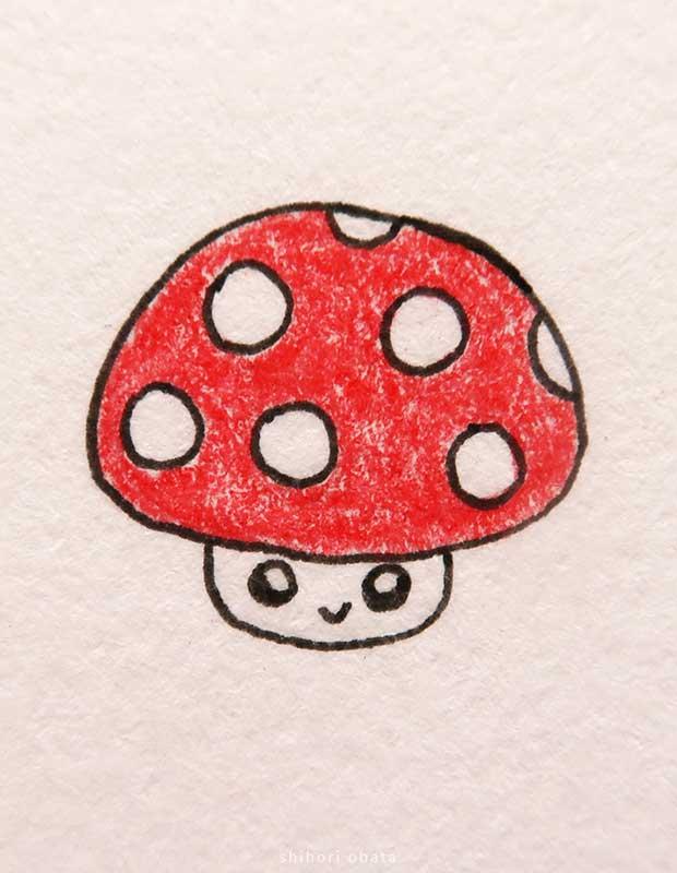 cute easy mushroom drawing