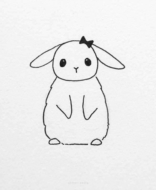 cute kawaii bunny rabbit drawing