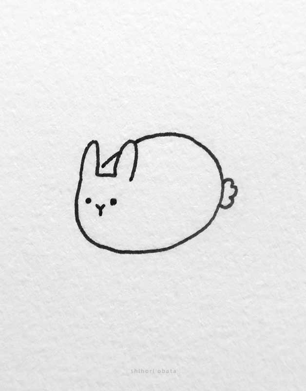 round rabbit drawing easy