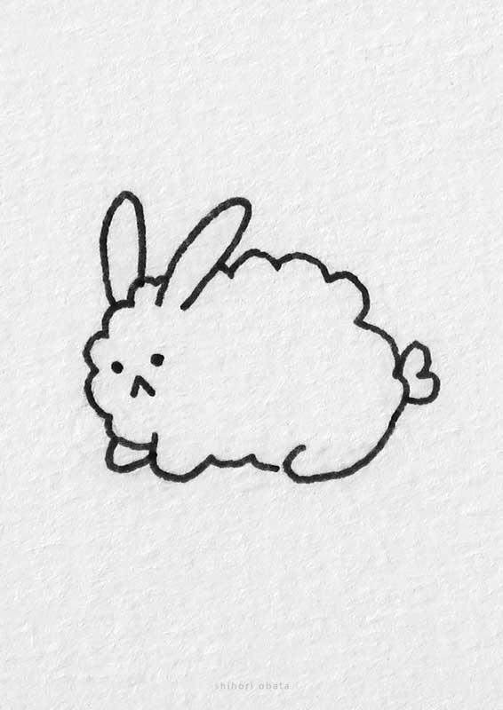 easy fluffy rabbit drawing