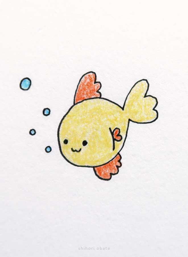 cute fish drawing goldfish
