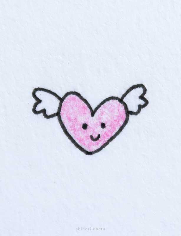 heart wings drawing