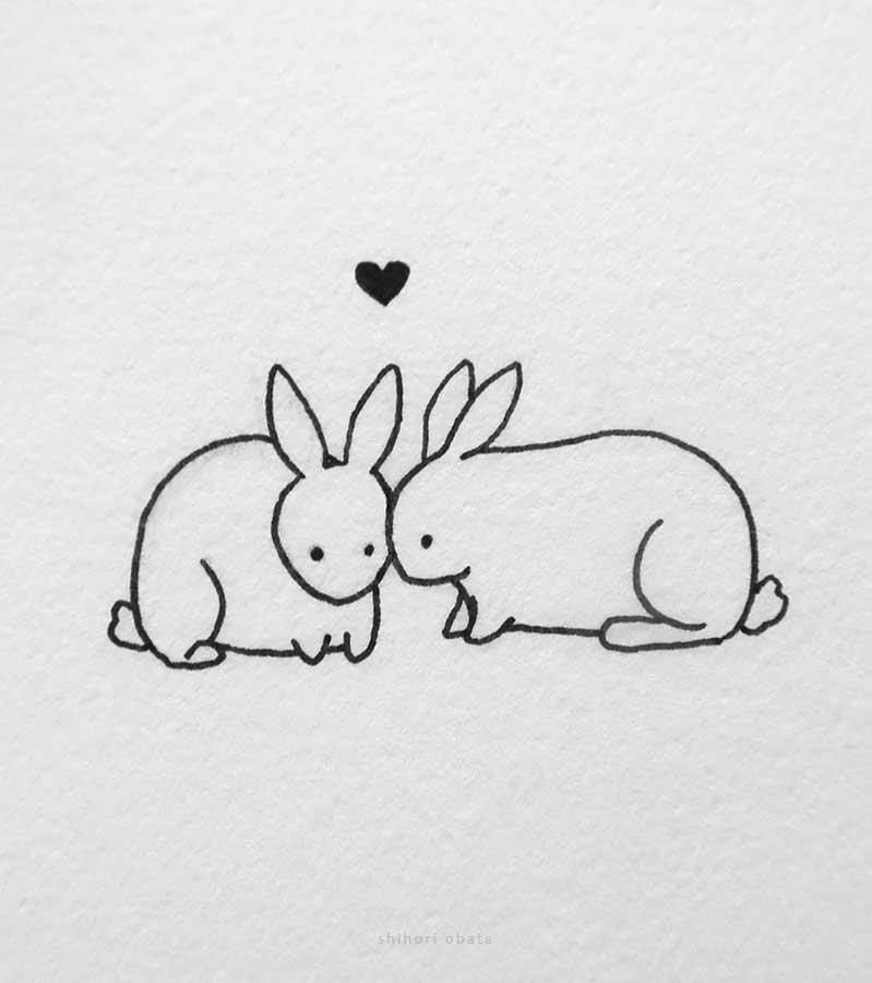 rabbit couple drawing