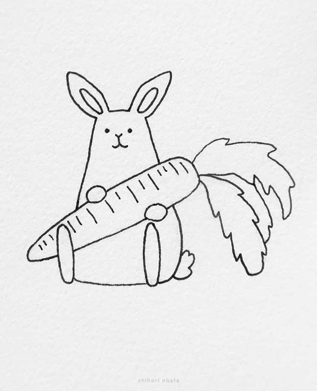 easter rabbit drawing carrot