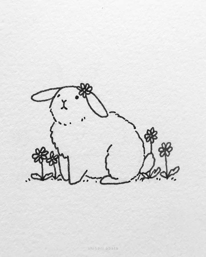 rabbit flowers drawing