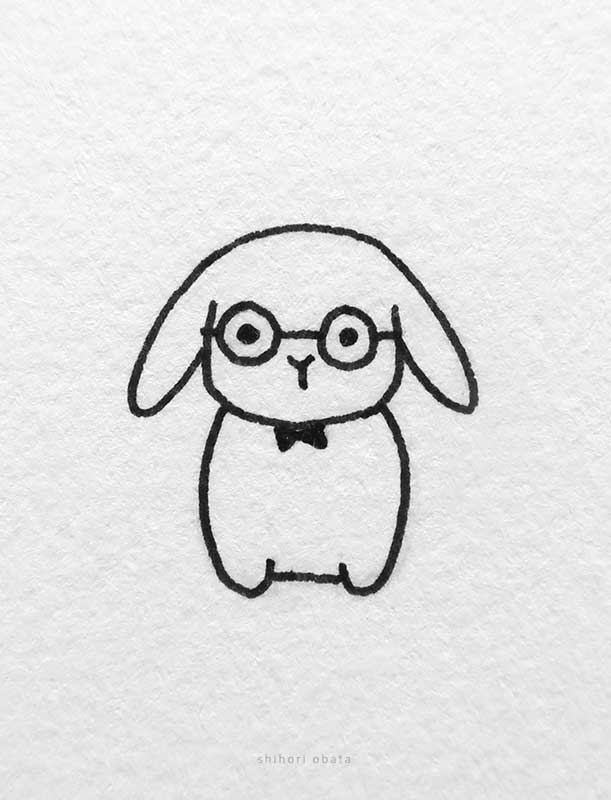 rabbit glasses drawing