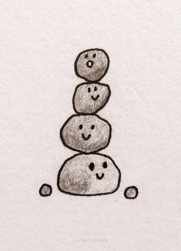 cute easy pile of rocks drawing