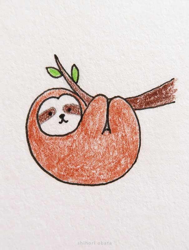 sloth cute easy drawing