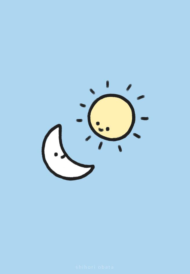 sun moon drawing cute